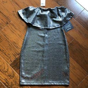 Charlotte Russe Dresses - Strapless Ruffle Silver Metallic Bodycon Dress XS
